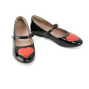 GUCCI Black Patent Leather & Heart Mary-Jane Flats